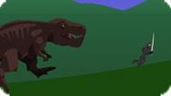 Игра Ниндзя убегает от Динозавра