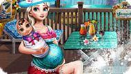 Игра Беременная Эльза И Рапунцель В Бассейне