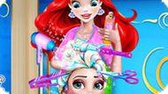 Игра Принцессы Диснея: Ариэль Делает Прическу Эльзе