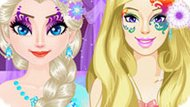 Игра Принцессы Диснея: Эльза И Барби Конкурс Макияжа