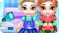 Игра Холодное сердце: Эльза и Анна стирают игрушки