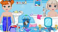 Игра Холодное сердце: Эльза и Анна убирают в ванной