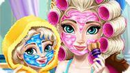 Игра Холодное сердце: Макияж Эльзы и дочки