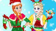 Игра Холодное сердце: Новогодняя одевалка Эльзы и Анны
