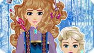 Игра Холодное сердце: Прическа Эльзы и ее мамы