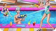 Игра Холодное сердце: Вечеринка Эльзы и Анны у бассейна