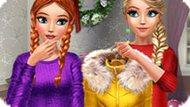 Игра Холодное сердце: Зимние наряды Эльзы и Анны