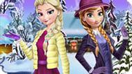 Игра Холодное сердце: Зимняя одежда Эльзы и Анны