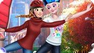 Игра Эльза и Анна катаются на роликах