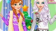 Игра Новогодняя мода Эльзы и Анны