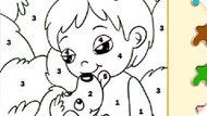 Игра Раскраска по цифрам Мальчик и собака