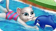 Игра Говорящий Кот: Анжела В Бассейне