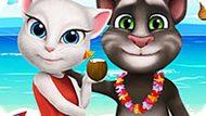 Игра Говорящий Кот: Том И Анжела Кормят Малышку