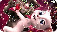 Игра Говорящий Кот Том И Анжела Украшают Яйцо