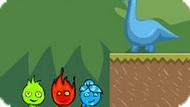 Игра Огонь И Вода На Троих: Страна Динозавров