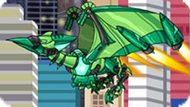 Игра Роботы Динозавры: Зеленый Птеродактиль Трансформер