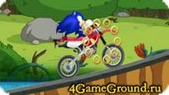 Race with Sonic on a motorcycle
