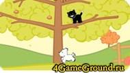 Помогите черному коту закидать собаку яблоками!
