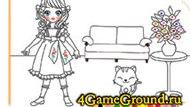 Раскраска про девочку и котенка