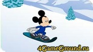 Race on a snowboard with Mickey Mouse