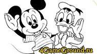 Раскраска про Дональда Дака и Микки Мауса