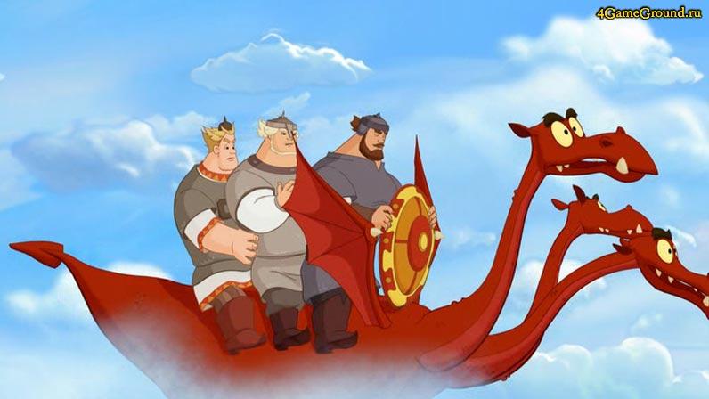 Игры Три богатыря - приручи Змея Горыныча